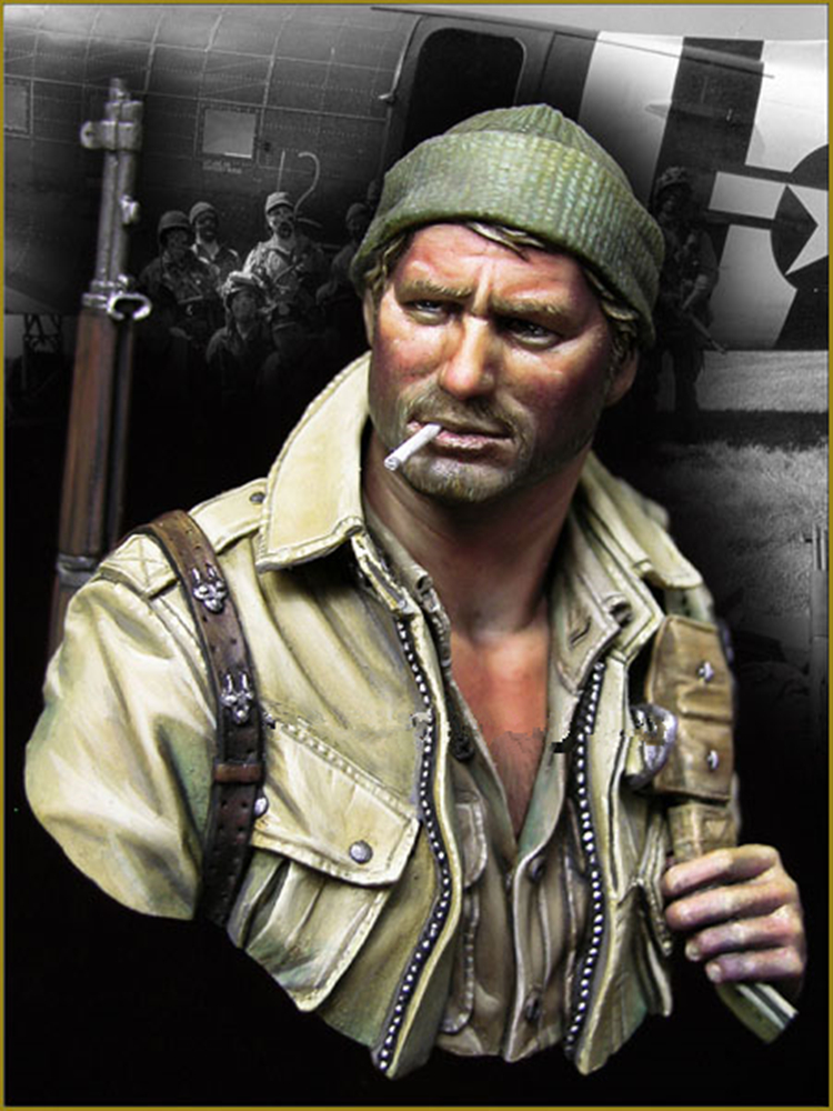 Figure 1/10 resin film American WWII Paratroopers bust Unpainted and not assembled resin kits resin assembly kits 1 8 ney archeress 1 8 260mm unpainted kit resin model free shipping