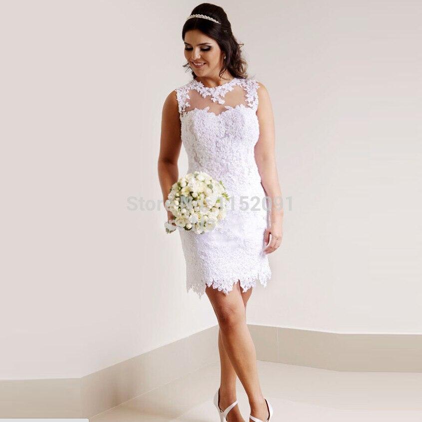 vestidos de novia 2016 Beach Short Lace Wedding Dresses Plus Size ...