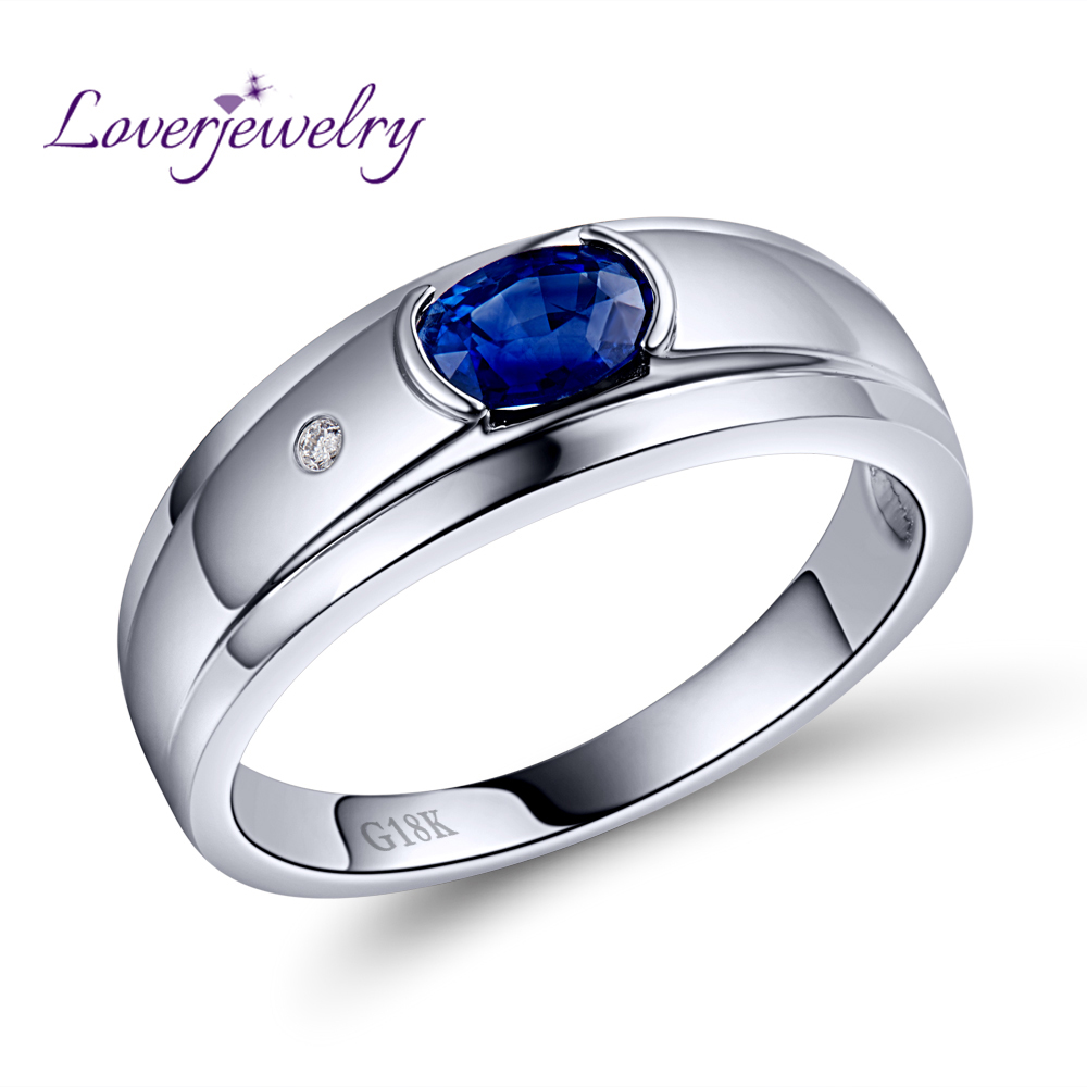 Luxury Mens Jewelry 18K White Gold Natural Sapphire Ring Natural Diamond Rings for Husband Gift WU292 ...