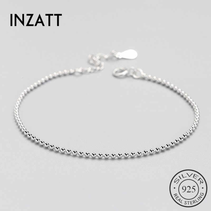 INZATT Classic Real925 Sterling Silver Bead Bracelet For Women Geometric Summer Metal Fashion Chain Jewelry Birthday Gift Bijoux
