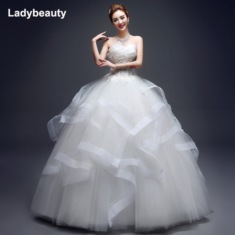Ladybeauty New Appliques Pearls Vintage White Wedding Dresses 2018 Strapless Tiered Floor-length Wedding Gowns New Formal Vestid