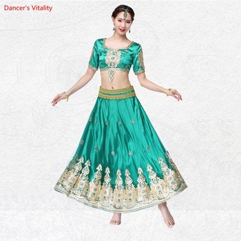 Women Competition Belly Dance Clothes Oriental Costumes Set 3pcs Top+skirt+belt Belly Dance Costume National Wind Suit