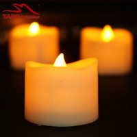 Battery Powered LED Tea Light Candle Flickering Flameless Tealight Candles for Christmas Wedding Party Decoration Amber Yellow