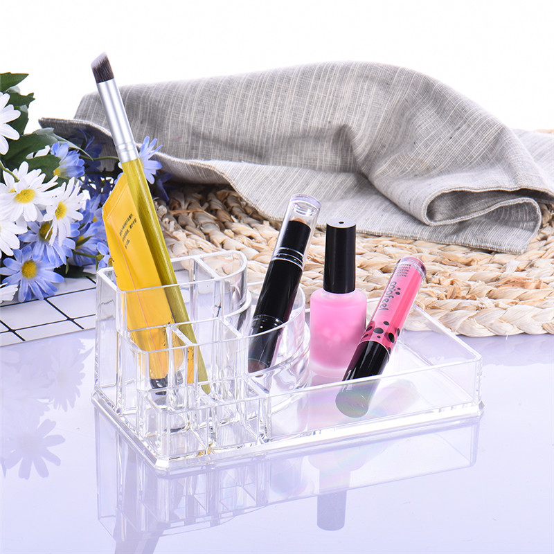 цена на 4 Type Crystal Acrylic Cosmetic Organizer Makeup brush holder Cosmetic Storage Display Box Case Stand Rack pen Holder for office