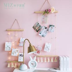 Miz Nordic Decoration Home Hemp Rope with Clips Nordic Style Kids Decoration Photography Props Postcard Display