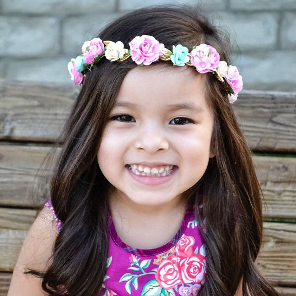 Newborn Rose Flower Garland Chic Wedding Flower Kids Headband Elastic Hairband Crown Wreath Headdress Tiara Hair