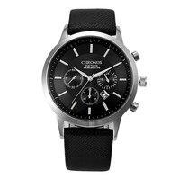 Reloj de pulsera deportivo para hombre, cronógrafo analógico de cuero de moda, estilo militar, con fecha