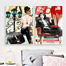 Fashion Book Girl Boss Perfume Wall Art Canvas Painting High Heels Africa Model Posters pictures For Living Room Salon
