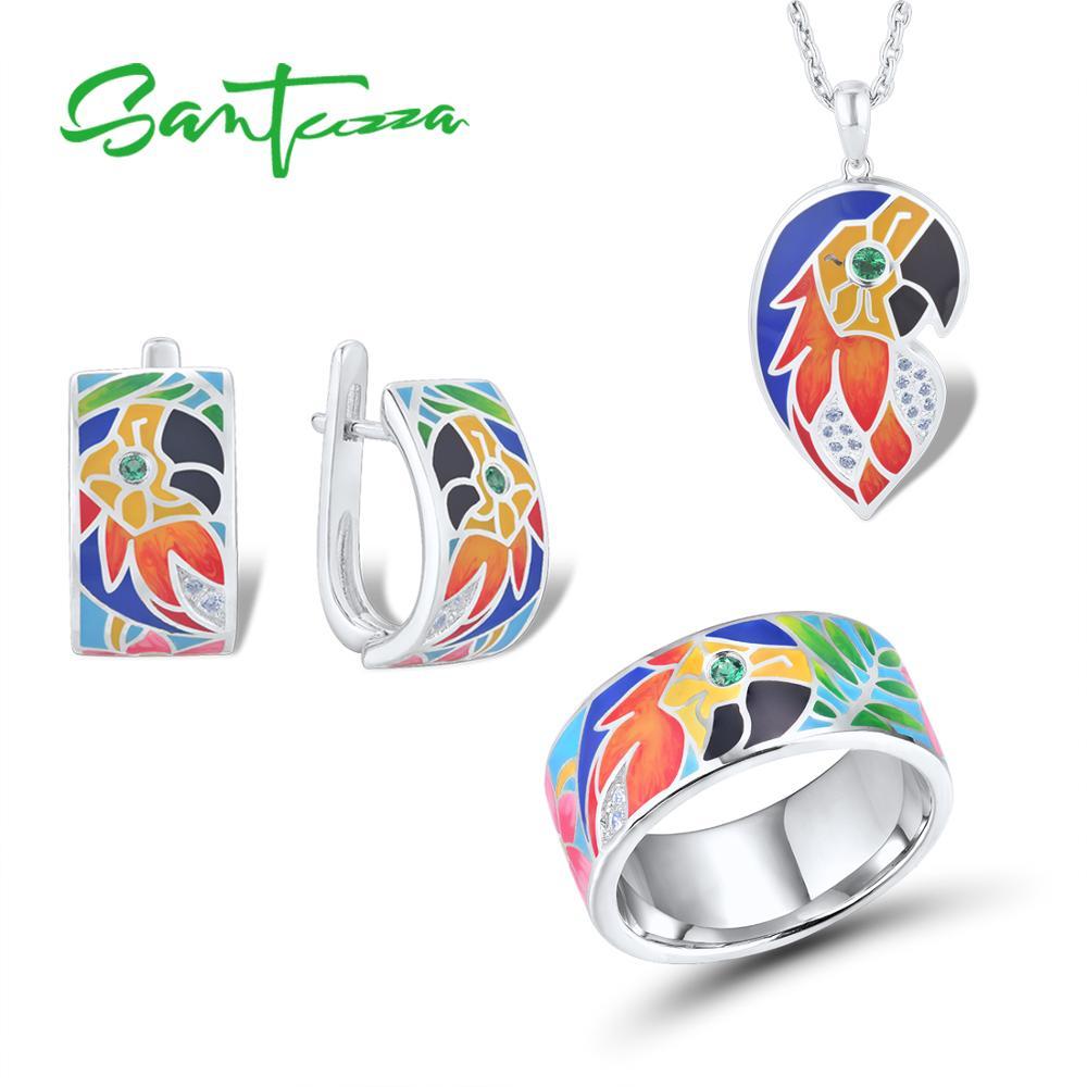 SANTUZZA Jewelry Set For Women Pure 925 Sterling Silver HANDMADE Colorful Enamel Parrot Ring Earring Pendant Fashion Jewelry Set