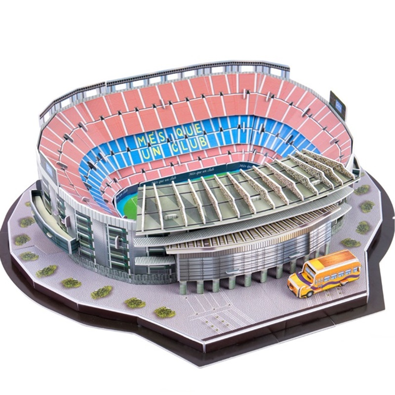 Classic Jigsaw DIY Puzzle Architecture Camp Nou Football Game Stadiums Construction Brick Toys Scale Models Sets Building Paper