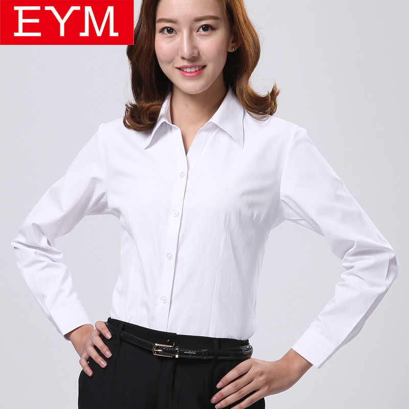 2019 Spring New Office OL White Shirt Women Long Sleeve Blouse Ladies Tops Plus Size Blouses Women Work Shirts XS-4XL 12colors