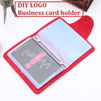 [4Y4A] 100pcs/Lot DIY LOGO Leather business card holder PU card bag more card bit lady sets driver 's license 1
