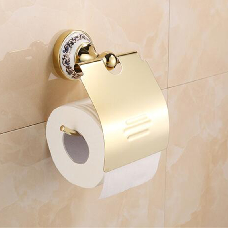 YANKSMART Luxury gold bronze glass roll box toilet paper holder tissue box paper holder Bathroom accessories gold hardware nervilamp 710 2a gold bronze