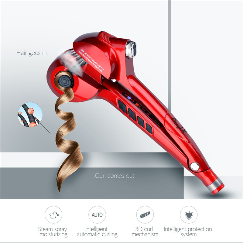 Auto Hair Curler Roller With Steam Spray Hair Care Styling Tools Ceramic Big Wave Hair Roller Magic Curling Iron Hair Styler
