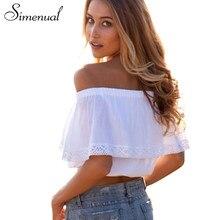 e06bad7044 summer 2018 bohemian white crop top for women off shoulder lace splice t  shirt camisetas y tops cuello slash women clothing sale