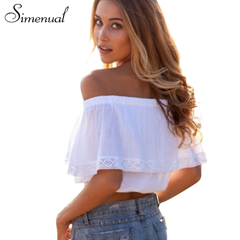 Summer 2018 Bohemian White Crop Top For Women Off Shoulder Lace Splice T Shirt Camisetas Y Tops Cuello Slash Women Clothing Sale
