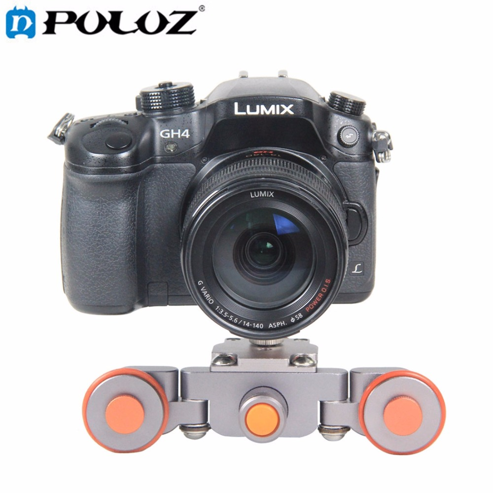 PULUZ Camera Autodolly Car Motorized Electric dolly 3-Wheel Pulley Car Rail Rolling Track Slider for DSLR / Mirrorless Cameras doitop smart electric photography slide car 3 wheel video track rail with tripod head for dslr camera camcorder cellphones a3