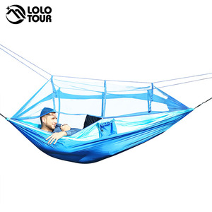 Image 2 - Outdoor Camping Parachute Hammock Mosquito Net Flyknit Double Leisure Sleeping Hanging Chair Tent Travel Survival Army Green