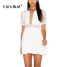 cca916ee96 2018 LALA IKAI Womens Lace Sexy Mini Dress with Drawstring Fit and Flare  White Flower Lace Dress for Female QWA1890-45