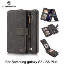 Caseme Подлинная Кожаный чехол для Samsung Galaxy S8/S8 плюс Роскошный кошелек кожаный чехол для телефона Coque Съемная бумажник телефон сумки