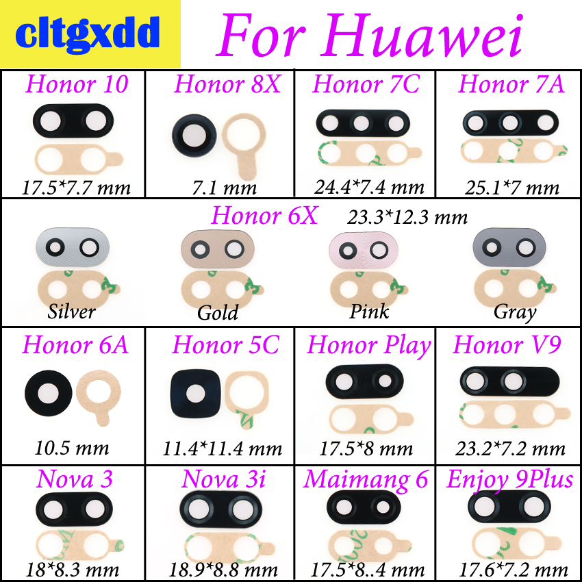 Cltgxdd Rear Back Camera Glass Lens With Sticker Adhesive For Huawei Honor 10 8X 7A 7C 6X 5C V9 Play 9Plus Nova 3 3i Maimang 6