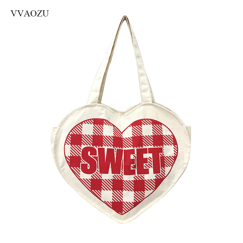 Women Heart Style Canvas Handbag Sweet Printing Ladies Lolita Shoulder Tote Bags Shopping Bag ...