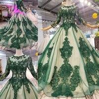 AIJINGYU Bridal Wear Long Sleeve Sexy Gown Vintage 2019 Hot Outdoor Satin Ruffle Trim Grecian Gown Illusion Wedding Dress