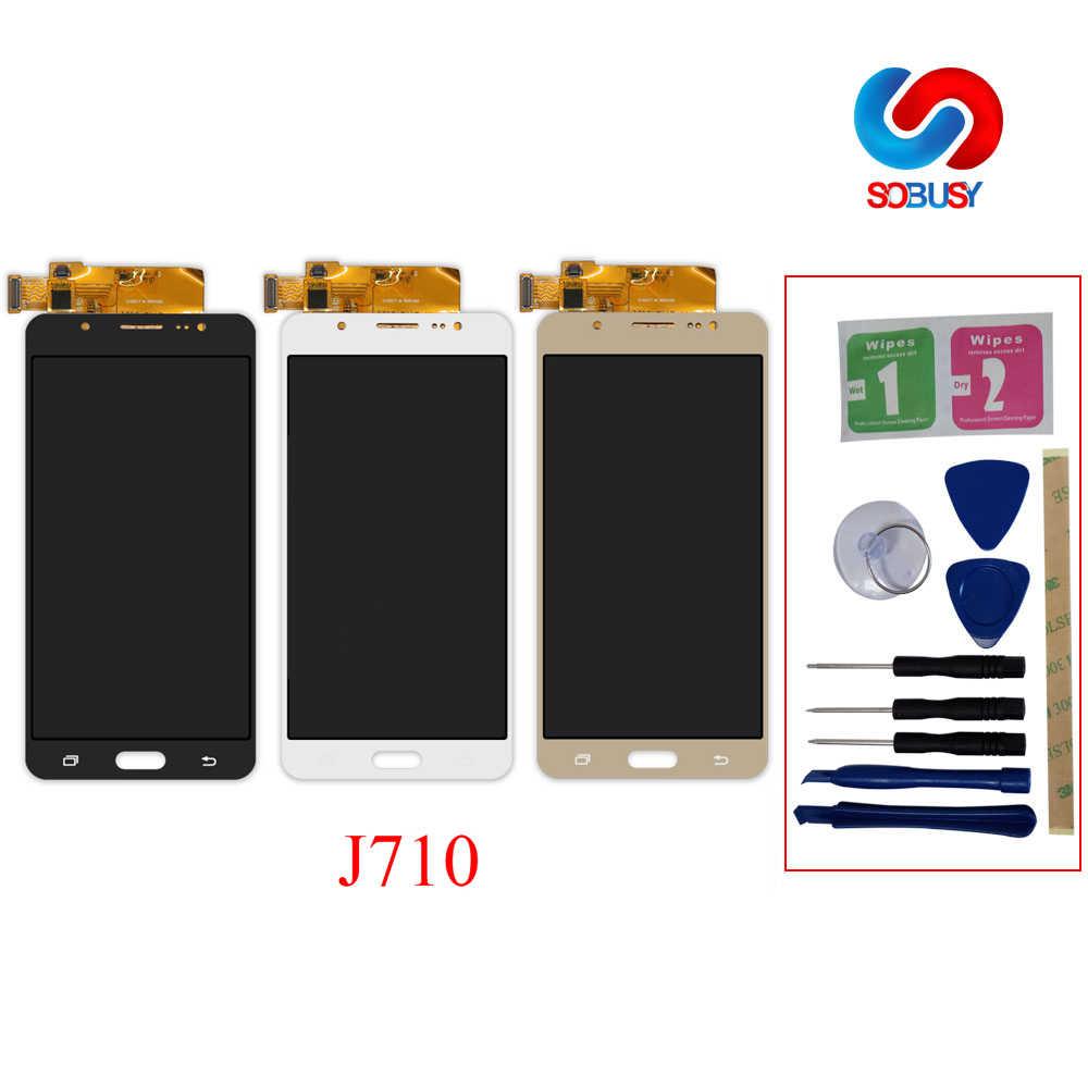 โทรศัพท์แอลซีดีสำหรับ Samsung Galaxy J7 2016 J710 J710F J710M J710H J710FN จอแสดงผล LCD Digitizer Touch Screen เปลี่ยน