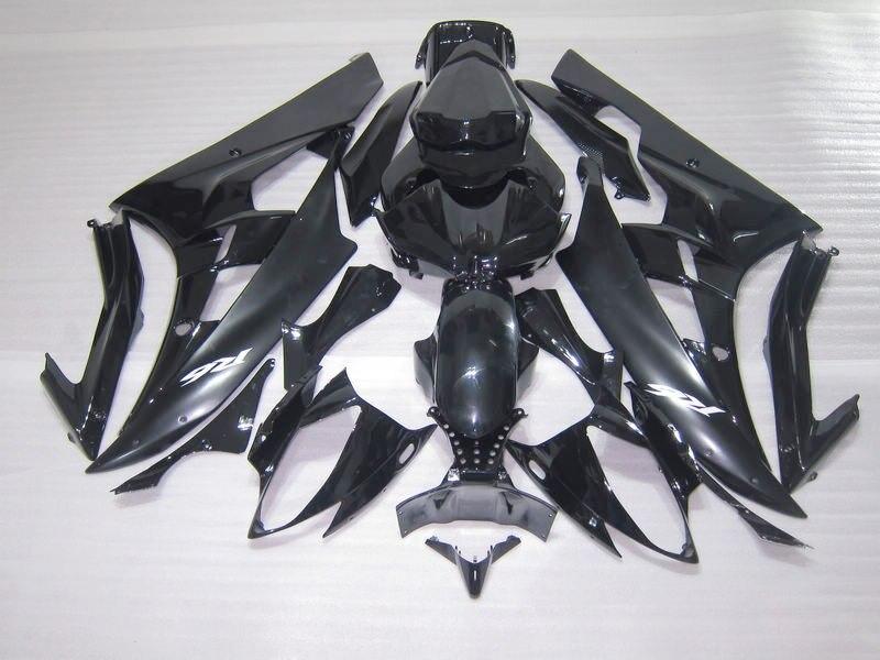 Injection molding plastic fairing kit for Yamaha YZF R6 06 07 glossy black fairings set YZFR6 2006 2007 TR06