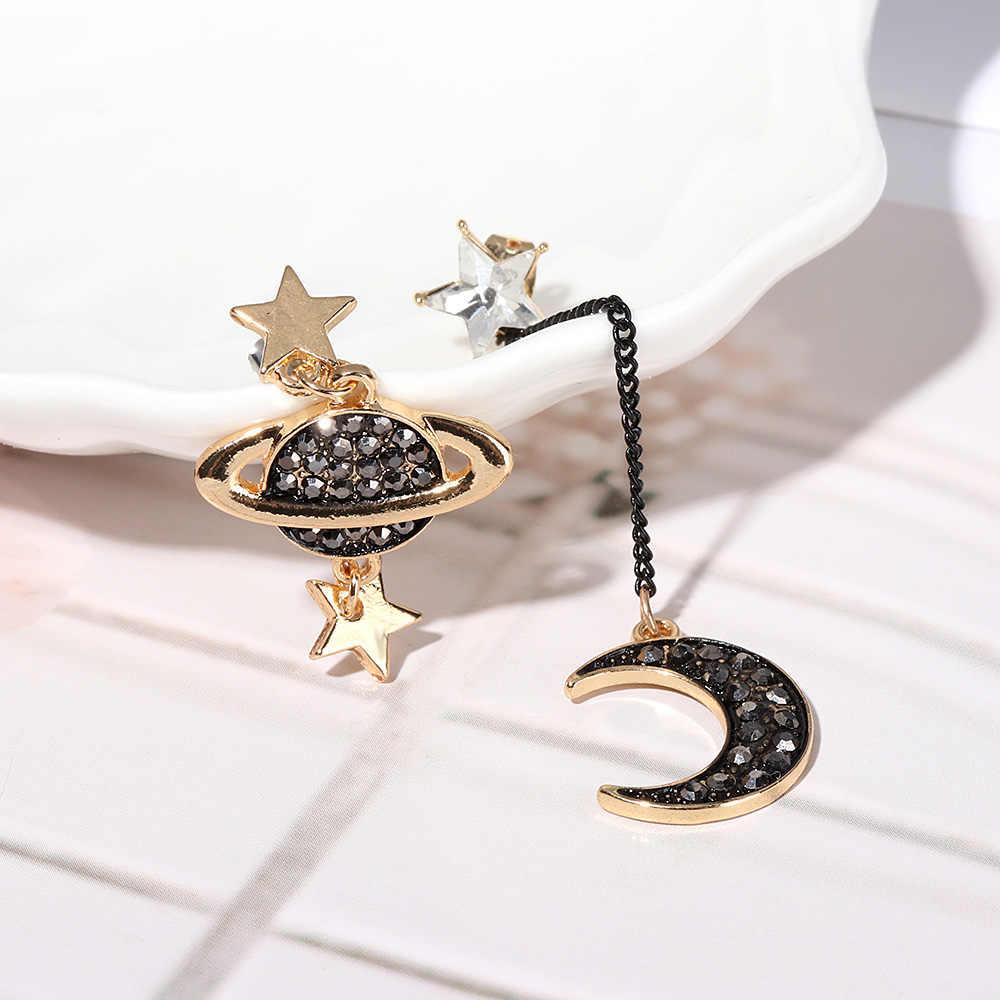 2018 New Design Asymmetric Earrings For Women Trendy Bijoux Rhinestone Moon Star Planet Pendientes Hot Party Girl Gifts