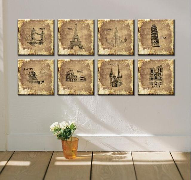 8 Piece Sets Modern Architecture Wall Picture Hanging Paris Eiffel