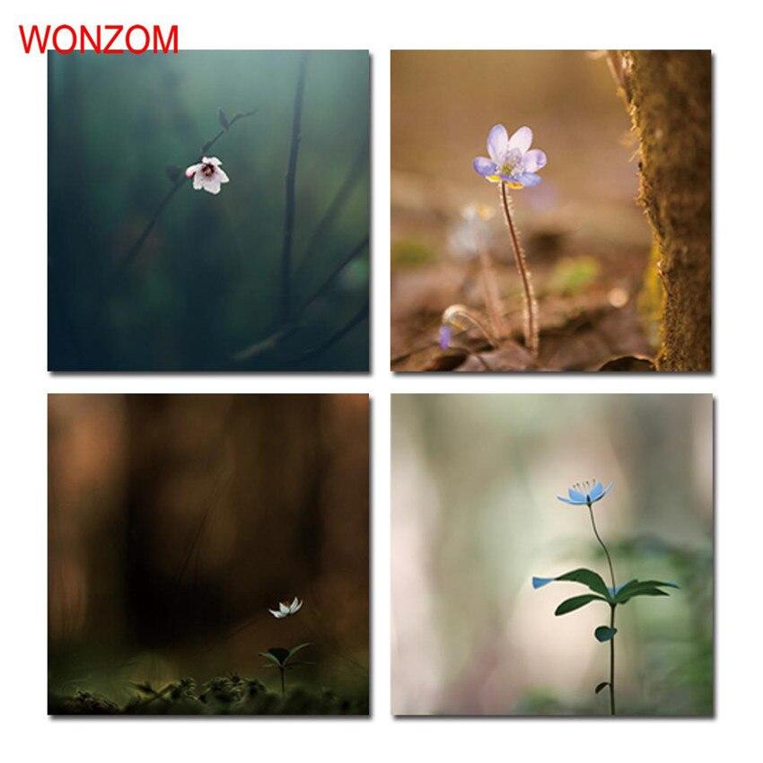 ᐃEnmarcado tranquilo escena pintura 4 unids florece arte cartel ...