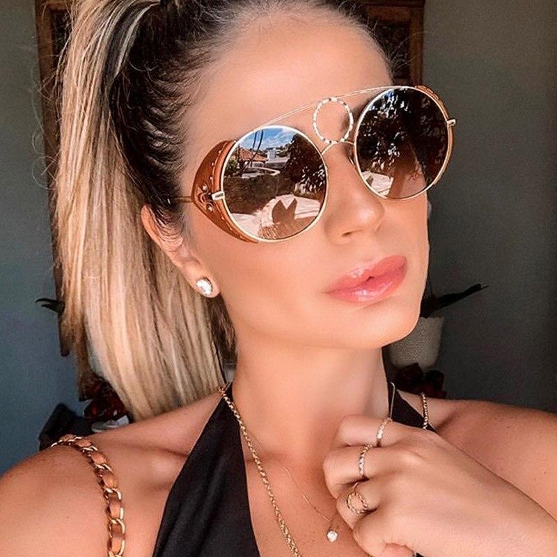 Celebridade Unisex Rodada Óculos De Sol Das Mulheres de Luxo Itália Marca Designer Couro Rebite Do Punk Óculos de Sol Para Homens Femininos Tendência de Óculos De Sol