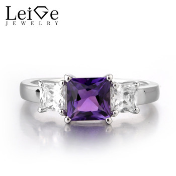 Leige Jewelry Square Cut Amethyst Ring Purple Gemstone Wedding Engagement Rings 925 Sterling Silver Jewelry Classic for Womman
