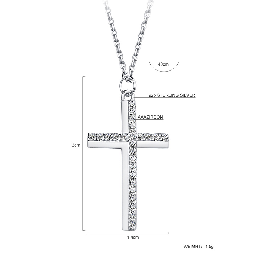 Cross Choker Necklace Real 925 Sterling Silver Pendant Female Jewelry - Fashion Jewelry - Photo 2