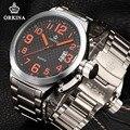 Orkina 2016 Мужские Большой Лицо Часы 52 ММ Большой Циферблат Серебро Нержавеющая сталь Авто Дата Мужчины Кварцевые Спортивные Наручные Часы Часы Для Мужчин