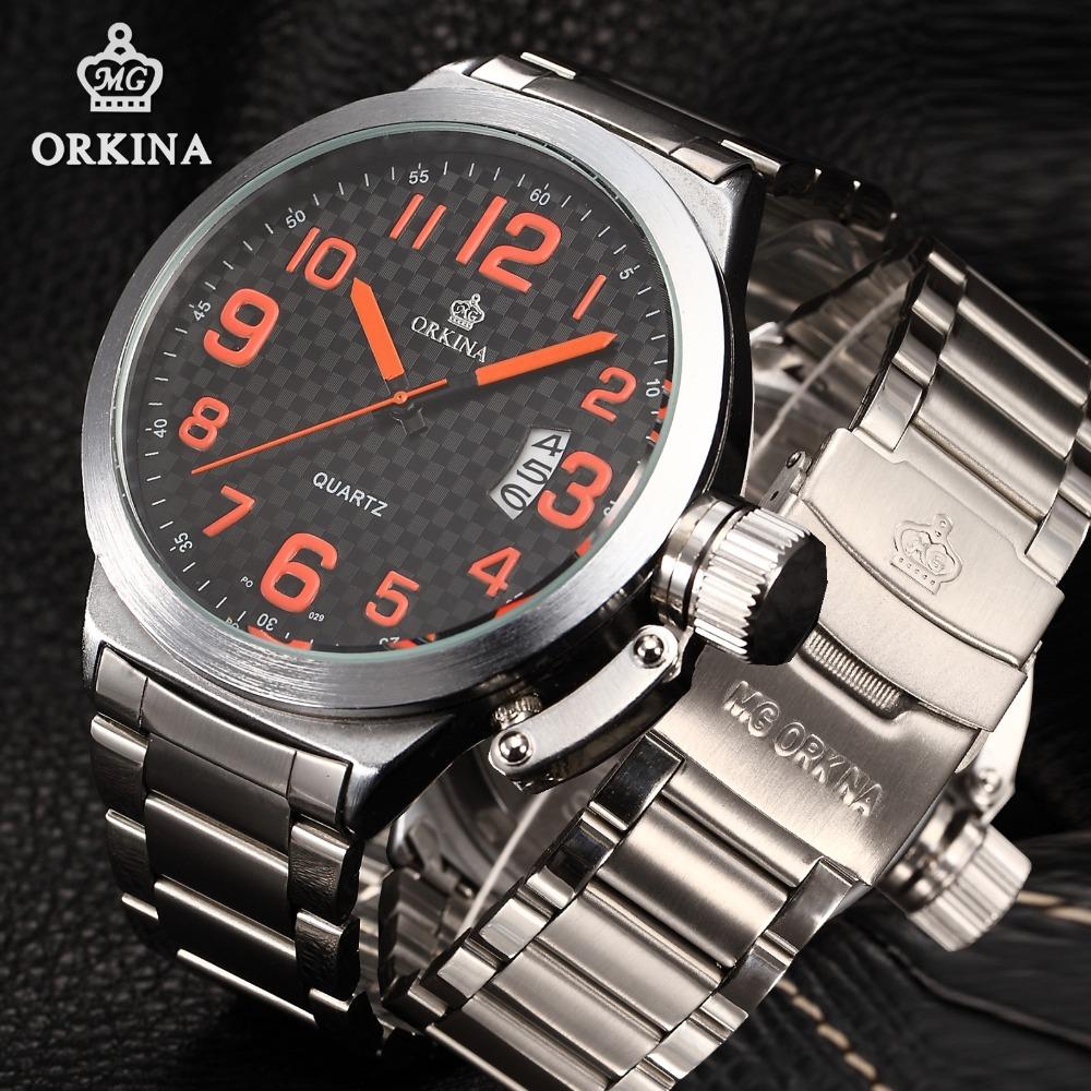 Prix pour Orkina 2016 hommes grand visage montres 52mm grand cadran argent inoxydable acier Auto Date Mâle Quartz Poignet Montre de Sport Horloge Pour Hommes
