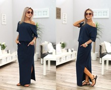 Women Summer Asymmetrical Casual Maxi Dress  Pocket Blue Black Long Pleated Loose Vintage vestidos de fiesta WHOLESALE