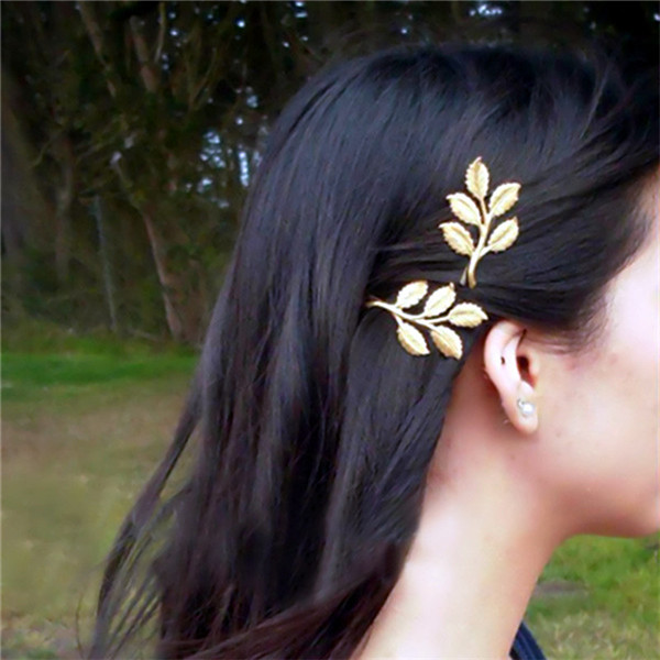 New 1 Pc Women Fashion Trendy Charming Leaf Design Hairpin Hair Clip Hair Accessories halloween party zombie skull skeleton hand bone claw hairpin punk hair clip for women girl hair accessories headwear 1 pcs