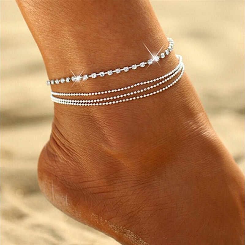 Kristal boncuklar Katmanlı Zincir Moda Ayak Bileği Bilezik Charm ayak takısı çizme takı zincirleri cheville Bacak Bilezik