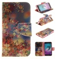 Para galaxy j3 (2016) titular do cartão saco do telefone móvel virar pu couro casos de telefone para samsung galaxy j3/j3 (2016)-Folhas coloridas