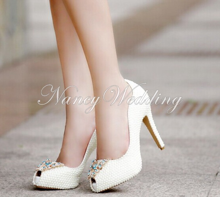 Peep Toe Ivory Shoes 011