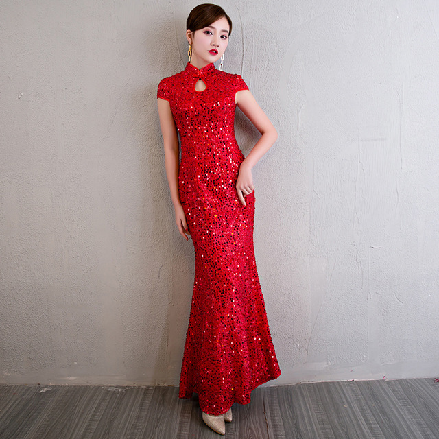 Short Sleeve Modern Chinese Wedding Gowns Traditional Qipao ...