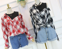 New Spring Women Shirts Patchwork Full Sleeve Plaid 2017 Fashionable Tide Two Piece Blouse Shirt Red