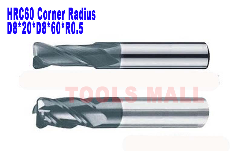 8mm 4 Flutes corner Radius End mill hrc60 with coating Spiral Bit Milling Carbide CNC  Router bits  D8*20*D8*60*R0.5  цены