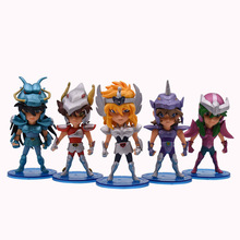 купить 5 pcs/set Anime Saint Seiya Knights of the Zodiac Action Figure PVC Figurine Collectible Model Christmas Gift Toy онлайн
