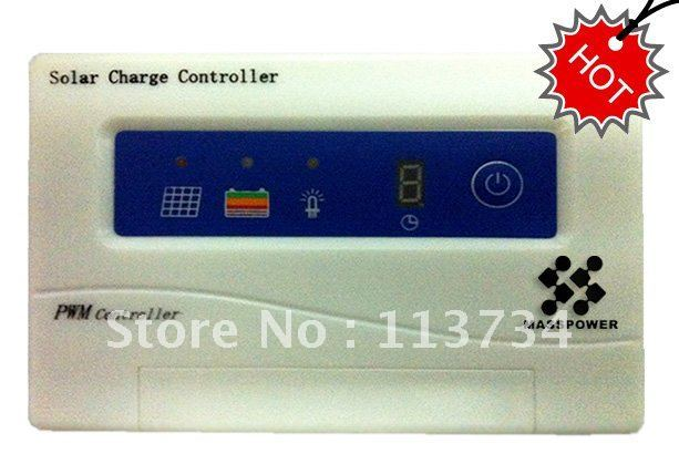 MOQ 10,Free Shipping 12v 24v PWM control 10a PV solar photovoltaic power charge battery charger controller regulator LED,on sale