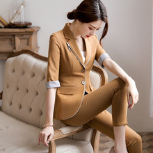 Professional suit female new style fashion seven-point sleeve suit skirt dress suit overalls nine points feet pants two-piece floral nine points sleeve hollow lace dress