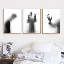 Black White Wall Art Canvas Painting Abstract Shadow Poster Room Decor Wall Pictures HD2427