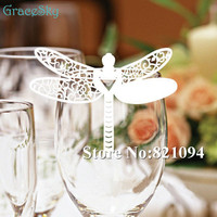 Laser cut free shipping 50pcs Dragonfly Place Wine Glass Cup Paper Card for Wedding Party Home Decorations White Name Cards